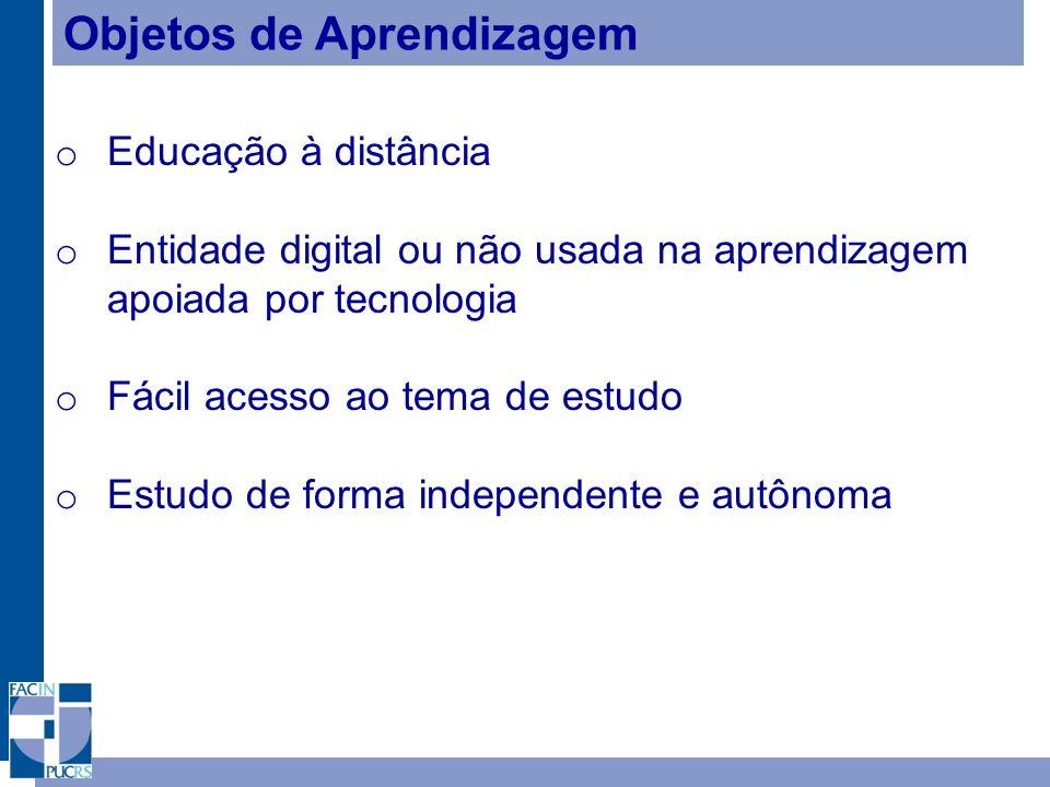 Objetos de Aprendizagem o Educação à distância o Entidade digital ou não usada na aprendizagem apoiada por tecnologia o Fácil acesso ao tema de estudo o Estudo de forma independente e autônoma