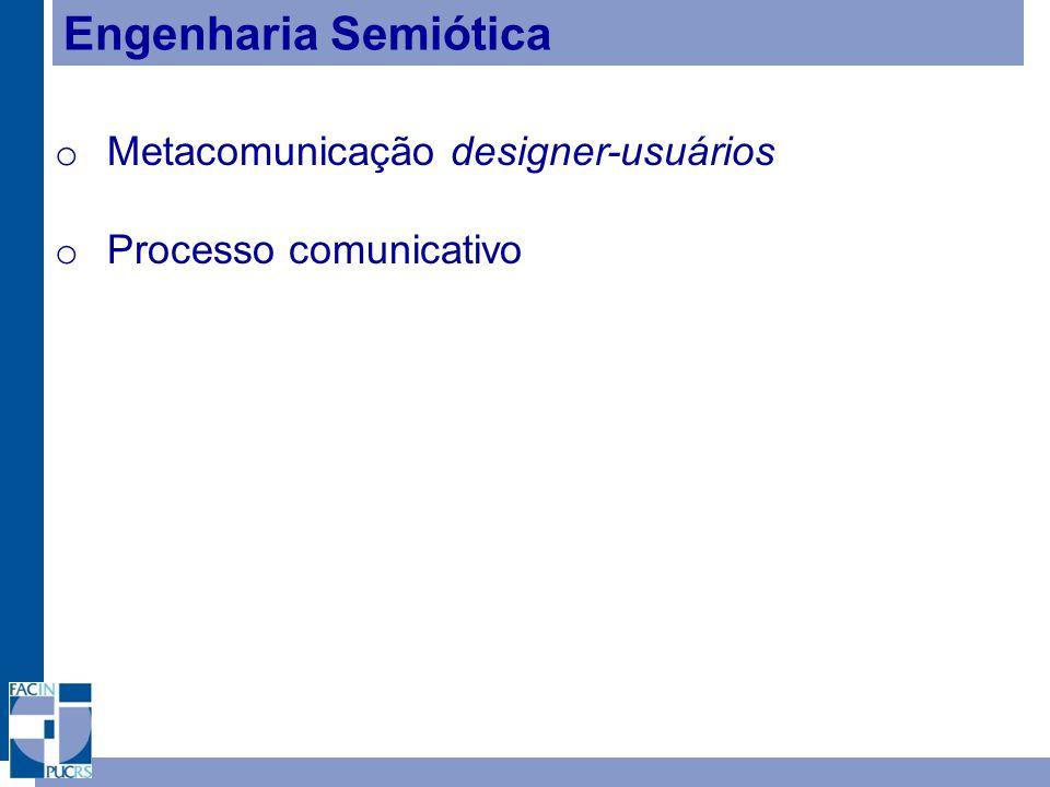 Engenharia Semiótica o Metacomunicação designer-usuários o Processo comunicativo