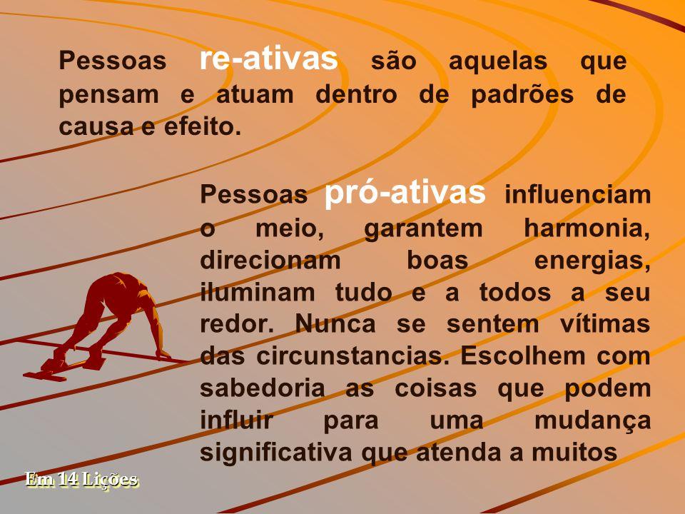 Pessoas re-ativas são aquelas que pensam e atuam dentro de padrões de causa e efeito.
