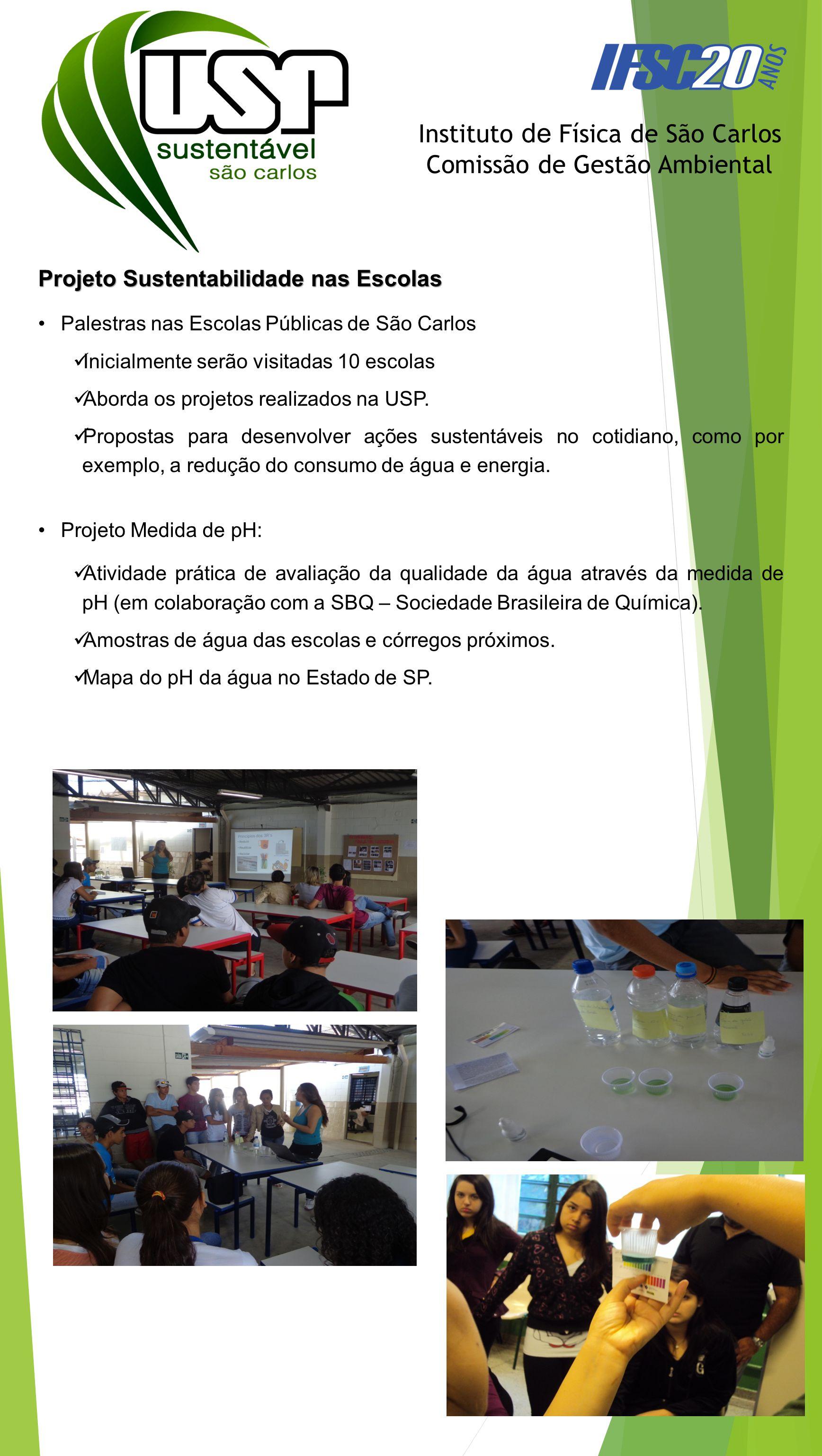 Projeto Sustentabilidade nas Escolas Palestras nas Escolas Públicas de São Carlos Inicialmente serão visitadas 10 escolas Aborda os projetos realizado