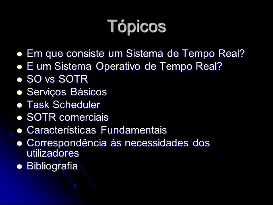 Tópicos Em que consiste um Sistema de Tempo Real? Em que consiste um Sistema de Tempo Real? E um Sistema Operativo de Tempo Real? E um Sistema Operati