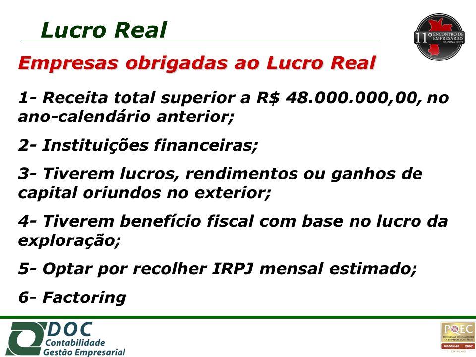 Empresas obrigadas ao Lucro Real 1- Receita total superior a R$ 48.000.000,00, no ano-calendário anterior; 2- Instituições financeiras; 3- Tiverem luc
