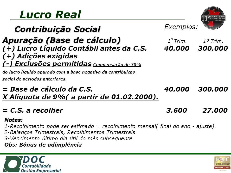 Exemplos: Apuração (Base de cálculo) Apuração (Base de cálculo) 1 º Trim. 1º Trim. (+) Lucro Líquido Contábil antes da C.S. 40.000 300.000 (+) Adições