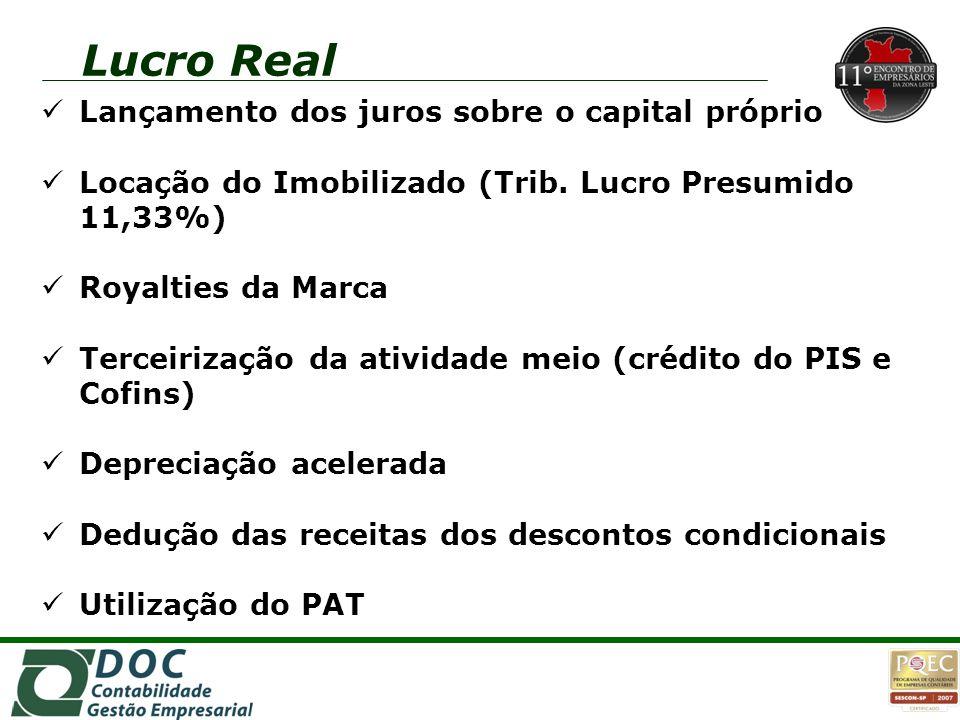 Lucro Real Lançamento dos juros sobre o capital próprio Locação do Imobilizado (Trib. Lucro Presumido 11,33%) Royalties da Marca Terceirização da ativ