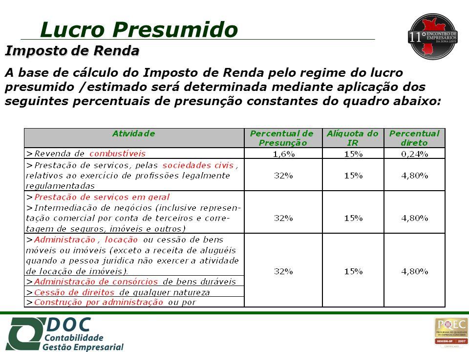 Imposto de Renda A base de cálculo do Imposto de Renda pelo regime do lucro presumido /estimado será determinada mediante aplicação dos seguintes perc
