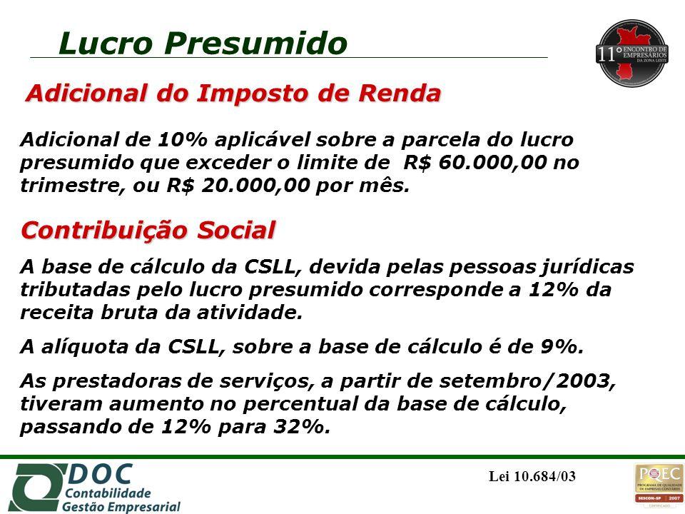 Contribuição Social A base de cálculo da CSLL, devida pelas pessoas jurídicas tributadas pelo lucro presumido corresponde a 12% da receita bruta da at