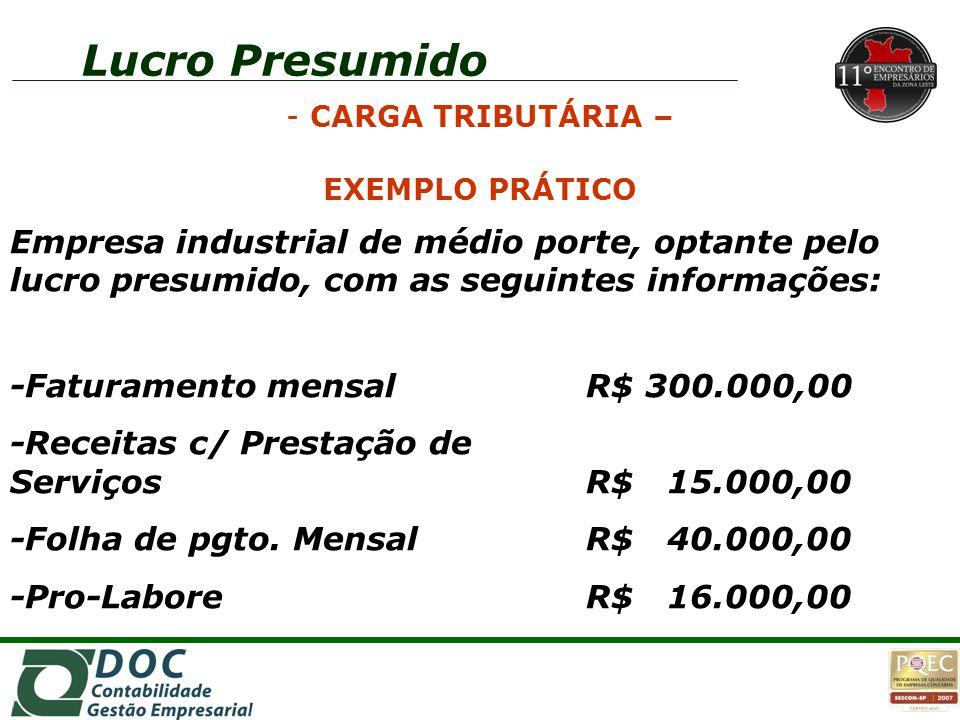 Empresa industrial de médio porte, optante pelo lucro presumido, com as seguintes informações: -Faturamento mensalR$ 300.000,00 -Receitas c/ Prestação