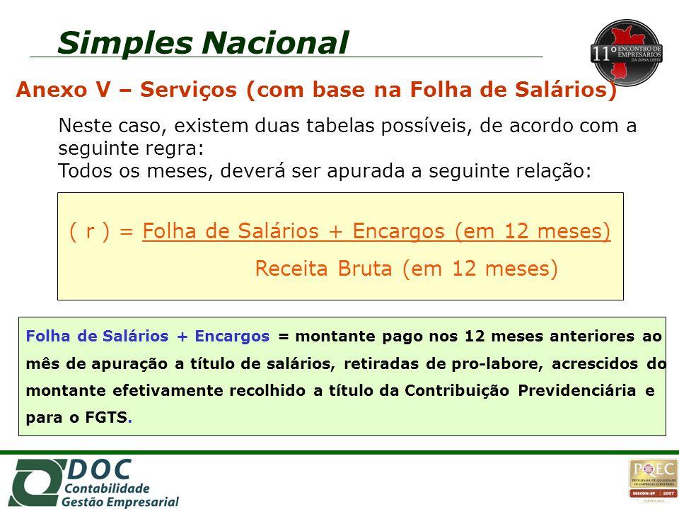Simples Nacional Anexo V – Serviços (com base na Folha de Salários) Neste caso, existem duas tabelas possíveis, de acordo com a seguinte regra: Todos