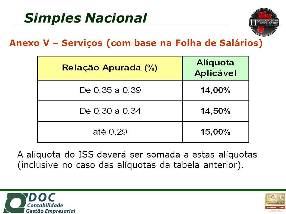 Simples Nacional Anexo V – Serviços (com base na Folha de Salários) A alíquota do ISS deverá ser somada a estas alíquotas (inclusive no caso das alíqu