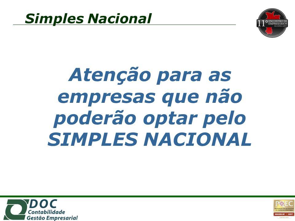 2o2o 2o2o 1o1o 1o1o Simples Nacional Atenção para as empresas que não poderão optar pelo SIMPLES NACIONAL
