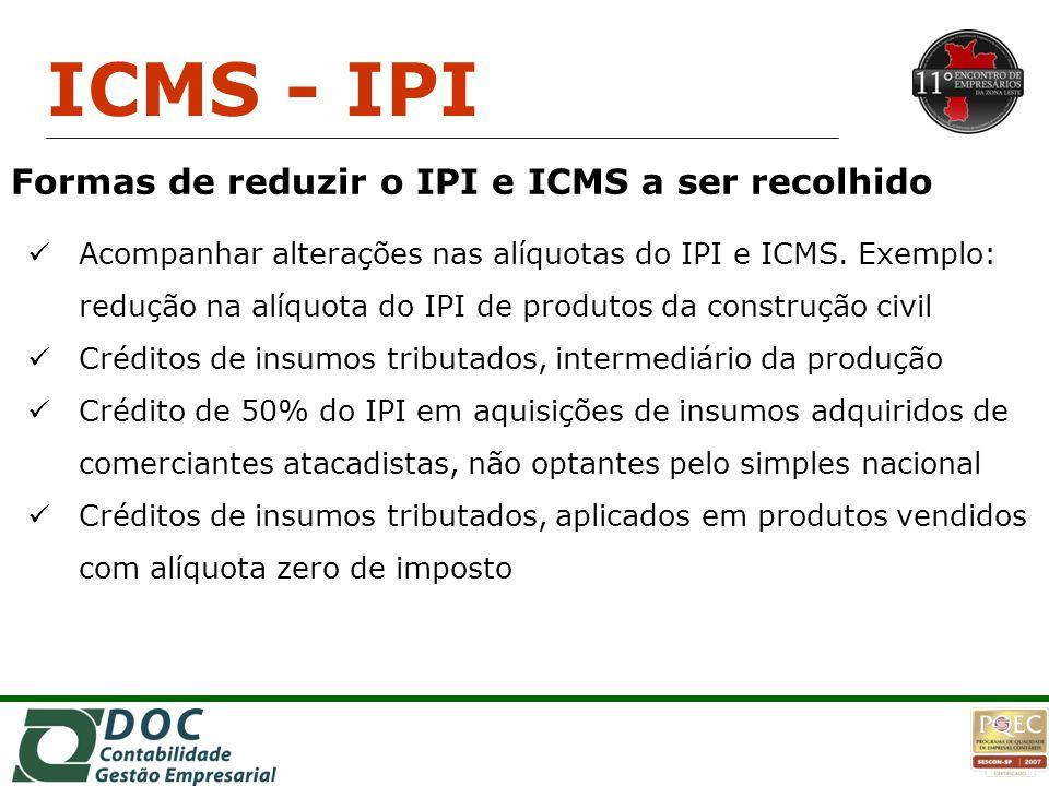 Acompanhar alterações nas alíquotas do IPI e ICMS. Exemplo: redução na alíquota do IPI de produtos da construção civil Créditos de insumos tributados,