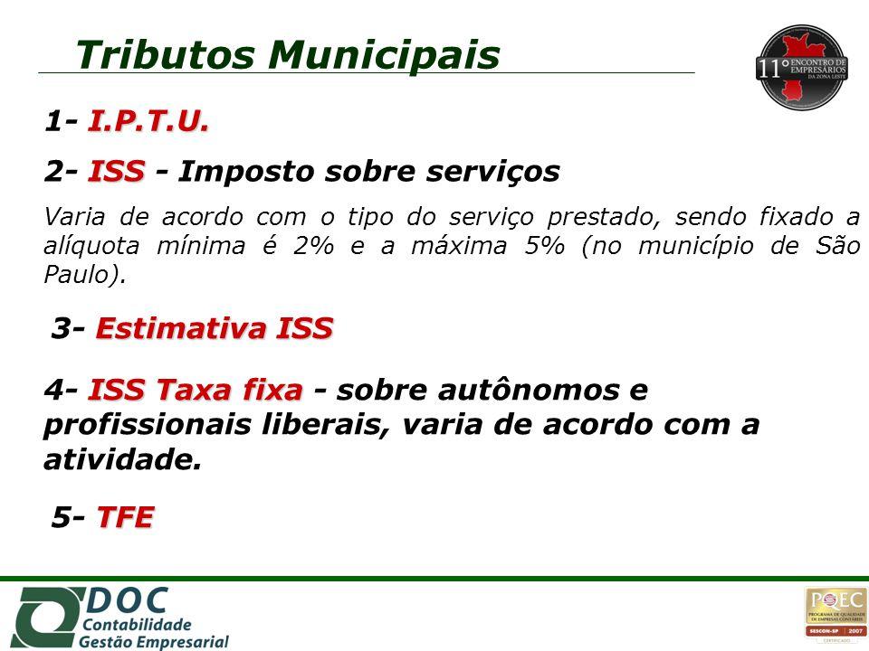 ISS Taxa fixa 4- ISS Taxa fixa - sobre autônomos e profissionais liberais, varia de acordo com a atividade. I.P.T.U. 1- I.P.T.U. ISS 2- ISS - Imposto