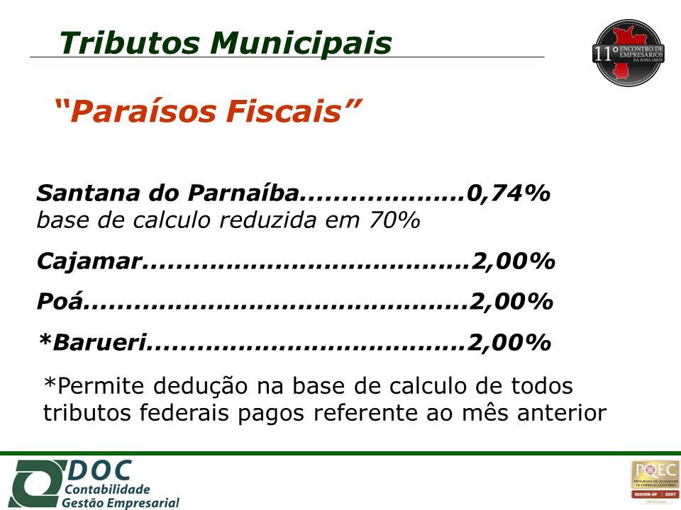 1o1o Tributos Municipais Santana do Parnaíba....................0,74% base de calculo reduzida em 70% Cajamar........................................2