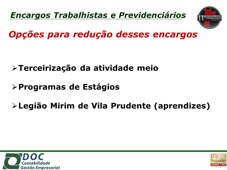 1o1o Opções para redução desses encargos  Terceirização da atividade meio  Programas de Estágios  Legião Mirim de Vila Prudente (aprendizes)