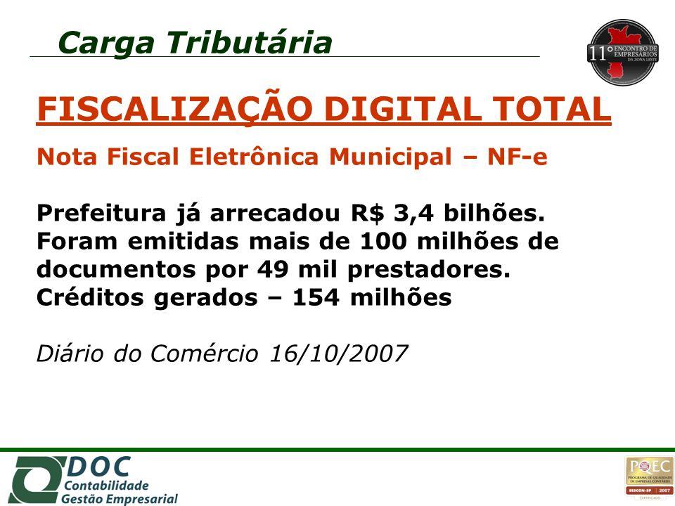 FISCALIZAÇÃO DIGITAL TOTAL Nota Fiscal Eletrônica Municipal – NF-e Prefeitura já arrecadou R$ 3,4 bilhões. Foram emitidas mais de 100 milhões de docum