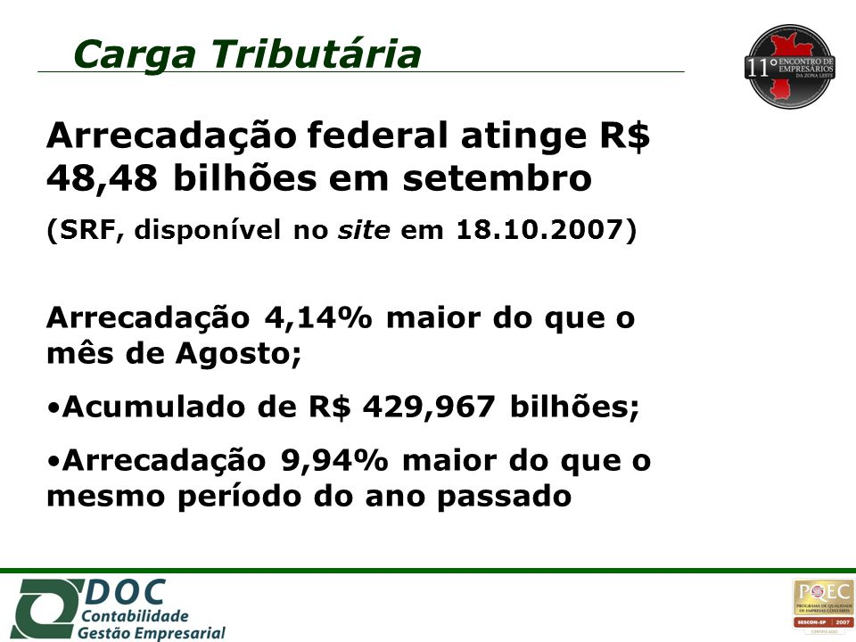 Arrecadação federal atinge R$ 48,48 bilhões em setembro (SRF, disponível no site em 18.10.2007) Arrecadação 4,14% maior do que o mês de Agosto; Acumul