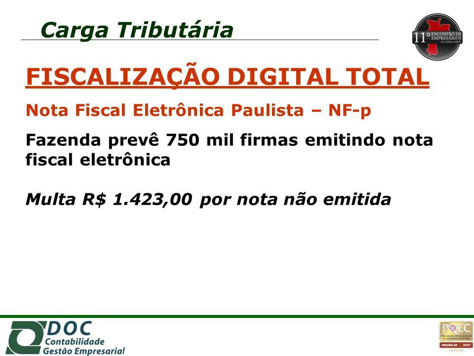 Carga Tributária FISCALIZAÇÃO DIGITAL TOTAL Nota Fiscal Eletrônica Paulista – NF-p Fazenda prevê 750 mil firmas emitindo nota fiscal eletrônica Multa