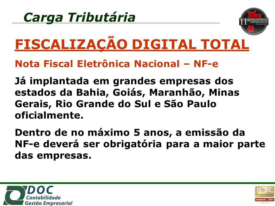 FISCALIZAÇÃO DIGITAL TOTAL Nota Fiscal Eletrônica Nacional – NF-e Já implantada em grandes empresas dos estados da Bahia, Goiás, Maranhão, Minas Gerai