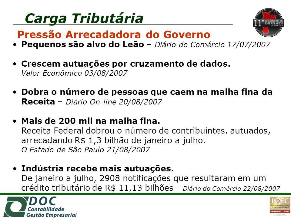 Carga Tributária Pressão Arrecadadora do Governo Fazenda vai incluir devedor de impostos federais no Serasa - O Estado de São Paulo 23/08/2007 Receita mira donos e dirigentes de empresa.