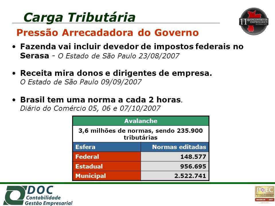 Carga Tributária Pressão Arrecadadora do Governo Fazenda vai incluir devedor de impostos federais no Serasa - O Estado de São Paulo 23/08/2007 Receita