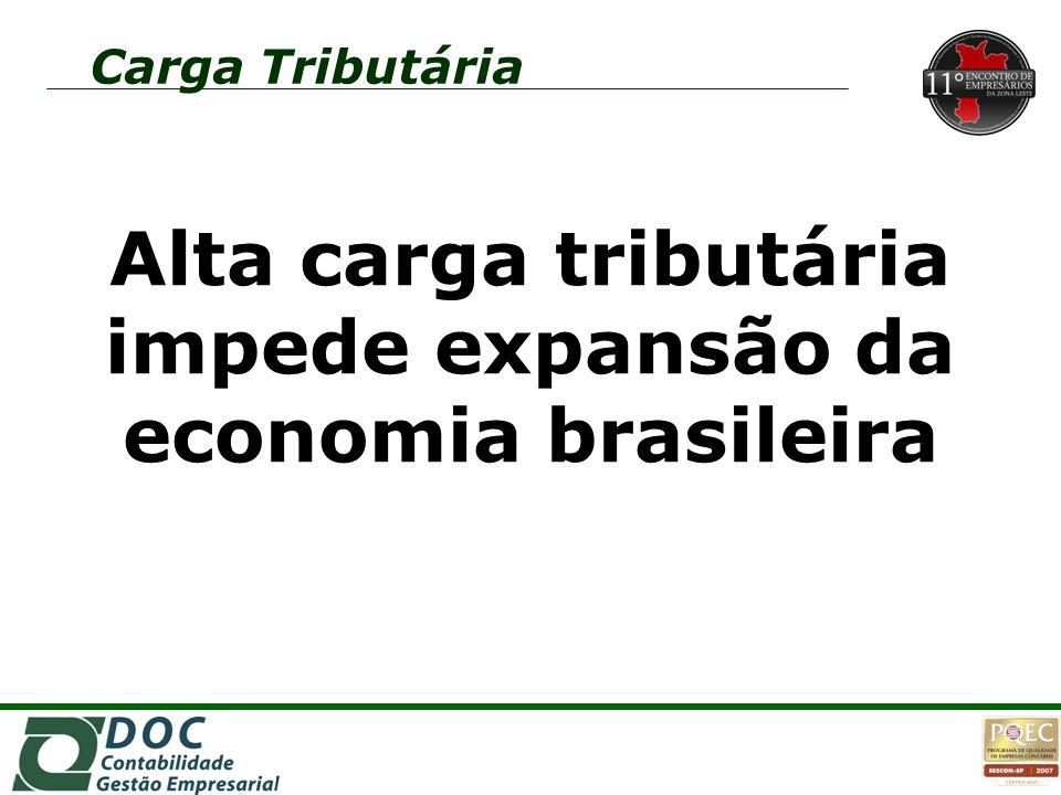 Carga Tributária Alta carga tributária impede expansão da economia brasileira