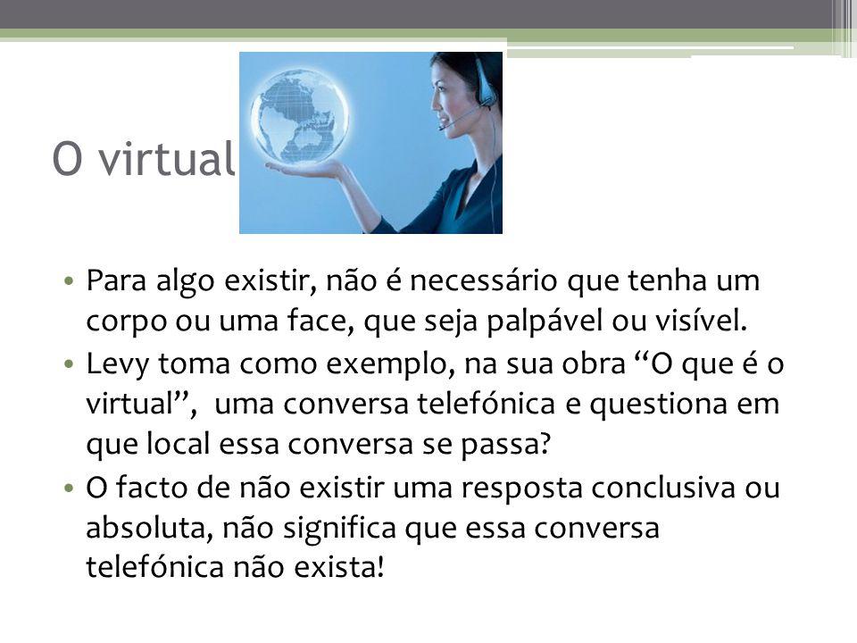 O virtual As relações interpessoais que envolvem amizades, discussões, empatia e que se processam através da Internet, não têm uma localização específica, nem são tangíveis, mas ainda assim existem...