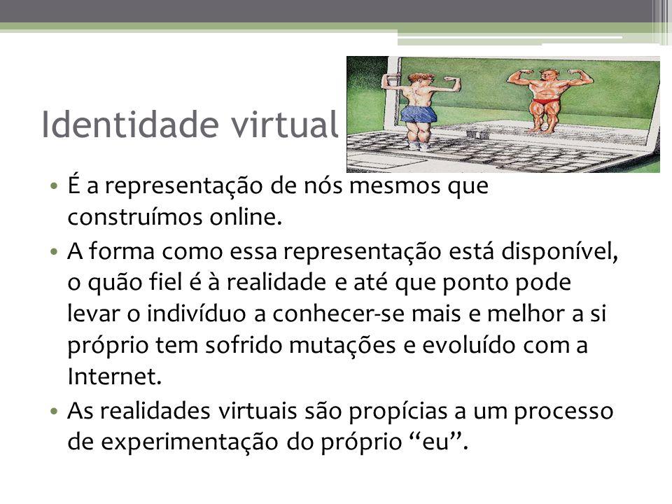 Identidade virtual É a representação de nós mesmos que construímos online.