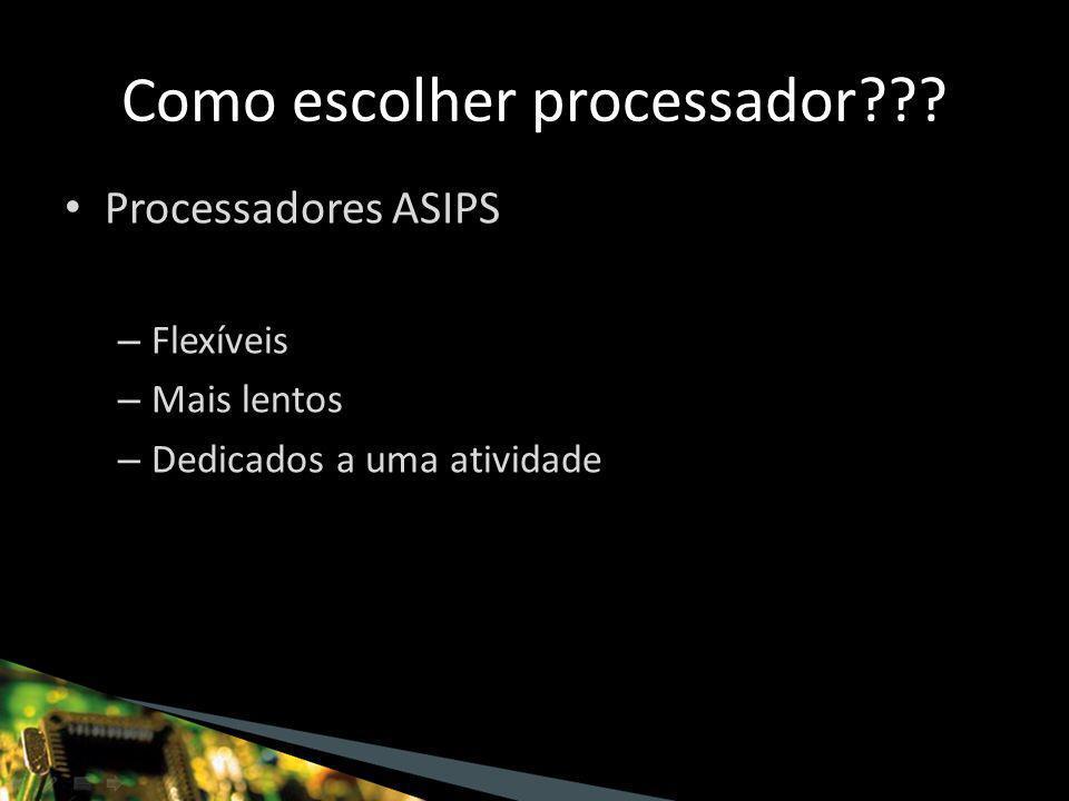 Processadores ASIPS – Flexíveis – Mais lentos – Dedicados a uma atividade Como escolher processador