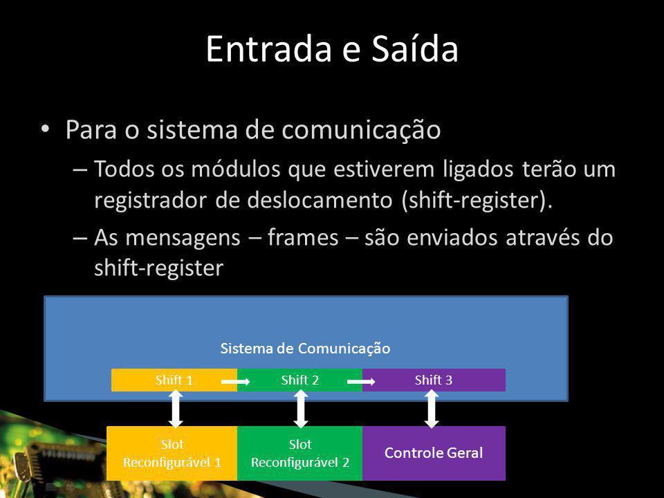 Para o sistema de comunicação – Todos os módulos que estiverem ligados terão um registrador de deslocamento (shift-register).
