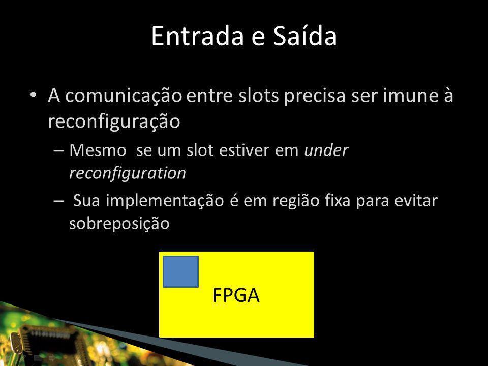 A comunicação entre slots precisa ser imune à reconfiguração – Mesmo se um slot estiver em under reconfiguration – Sua implementação é em região fixa para evitar sobreposição Entrada e Saída FPGA