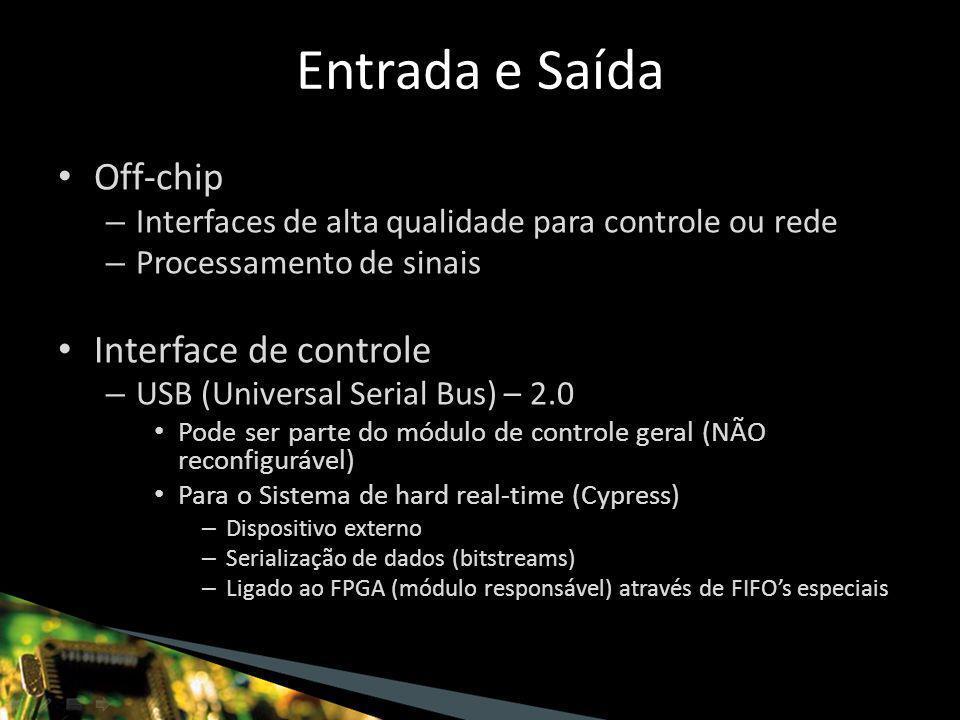 Off-chip – Interfaces de alta qualidade para controle ou rede – Processamento de sinais Interface de controle – USB (Universal Serial Bus) – 2.0 Pode ser parte do módulo de controle geral (NÃO reconfigurável) Para o Sistema de hard real-time (Cypress) – Dispositivo externo – Serialização de dados (bitstreams) – Ligado ao FPGA (módulo responsável) através de FIFO's especiais Entrada e Saída