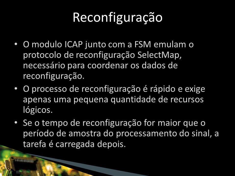 O modulo ICAP junto com a FSM emulam o protocolo de reconfiguração SelectMap, necessário para coordenar os dados de reconfiguração.