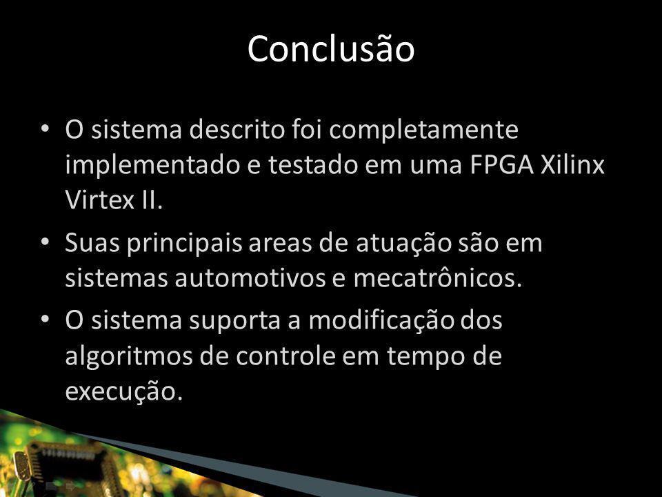 O sistema descrito foi completamente implementado e testado em uma FPGA Xilinx Virtex II.