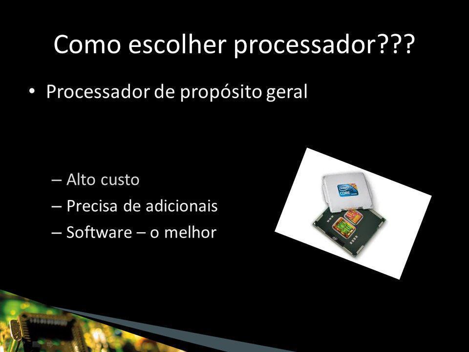 Processador de propósito geral – Alto custo – Precisa de adicionais – Software – o melhor Como escolher processador