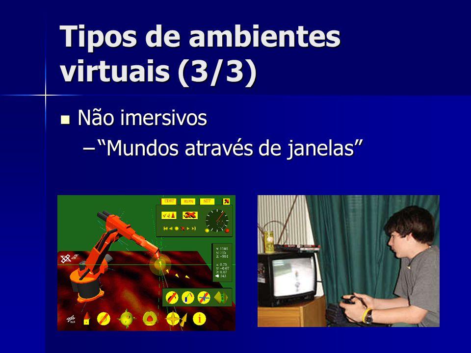 """Tipos de ambientes virtuais (3/3) Não imersivos Não imersivos –""""Mundos através de janelas"""""""