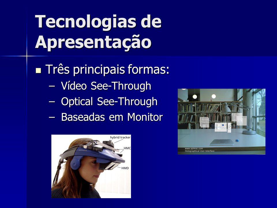 Tecnologias de Apresentação Três principais formas: Três principais formas: – Vídeo See-Through – Optical See-Through – Baseadas em Monitor