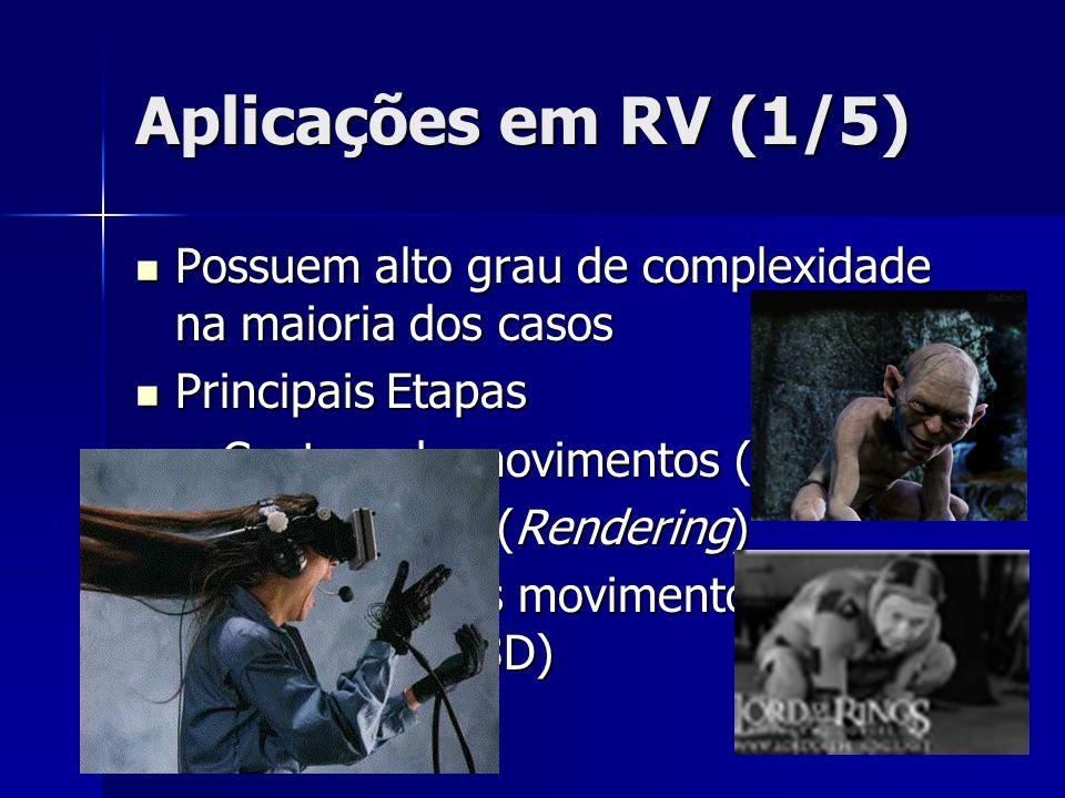 Aplicações em RV (1/5) Possuem alto grau de complexidade na maioria dos casos Possuem alto grau de complexidade na maioria dos casos Principais Etapas