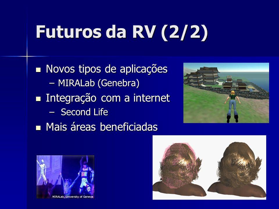 Futuros da RV (2/2) Novos tipos de aplicações Novos tipos de aplicações –MIRALab (Genebra) Integração com a internet Integração com a internet – Secon