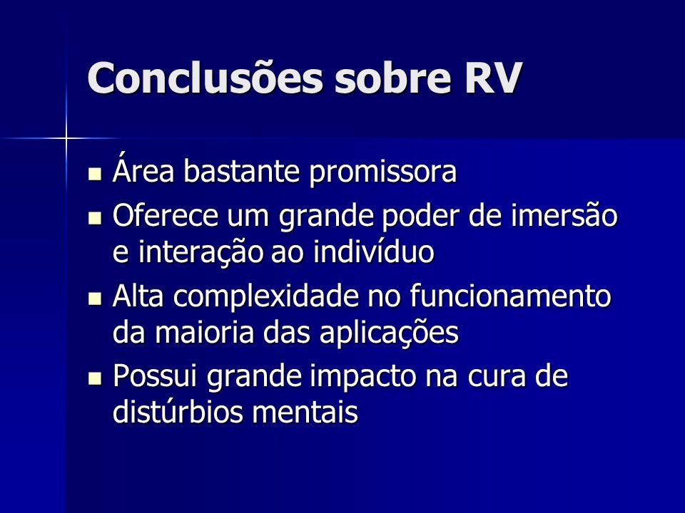Conclusões sobre RV Área bastante promissora Área bastante promissora Oferece um grande poder de imersão e interação ao indivíduo Oferece um grande po
