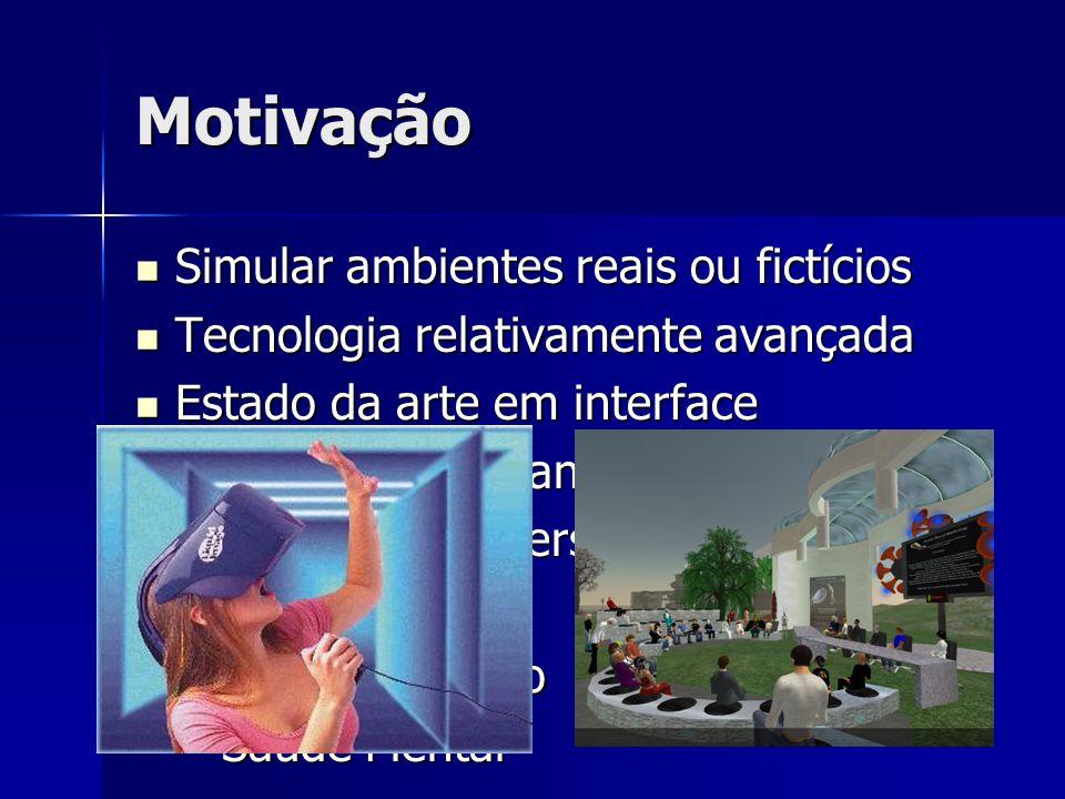 Motivação Simular ambientes reais ou fictícios Simular ambientes reais ou fictícios Tecnologia relativamente avançada Tecnologia relativamente avançad