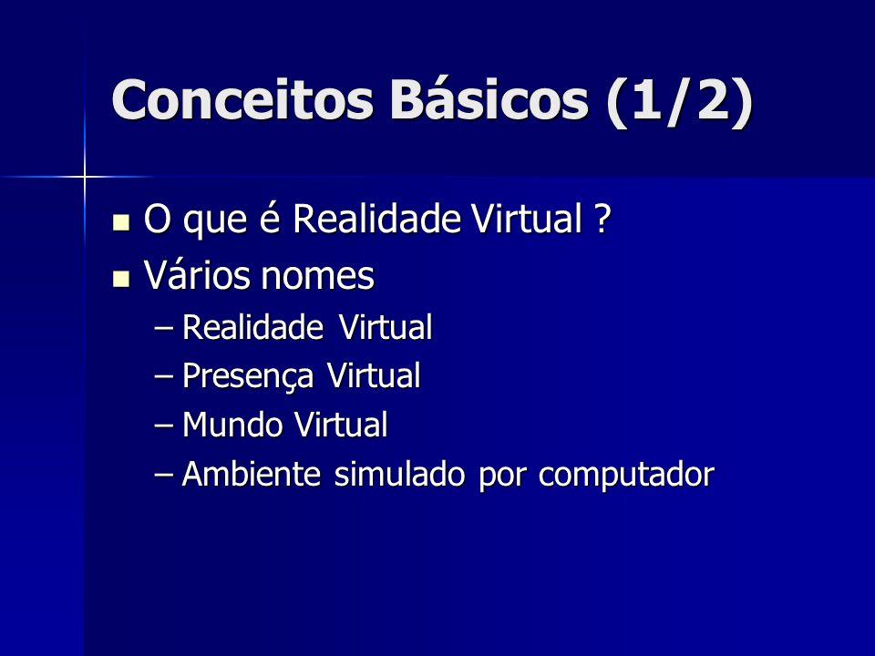 Conceitos Básicos (2/2) Pilares da Realidade Virtual Pilares da Realidade Virtual –Imersão –Interação –Imaginação Tipos de ambientes virtuais Tipos de ambientes virtuais Tecnologias de apresentação Tecnologias de apresentação