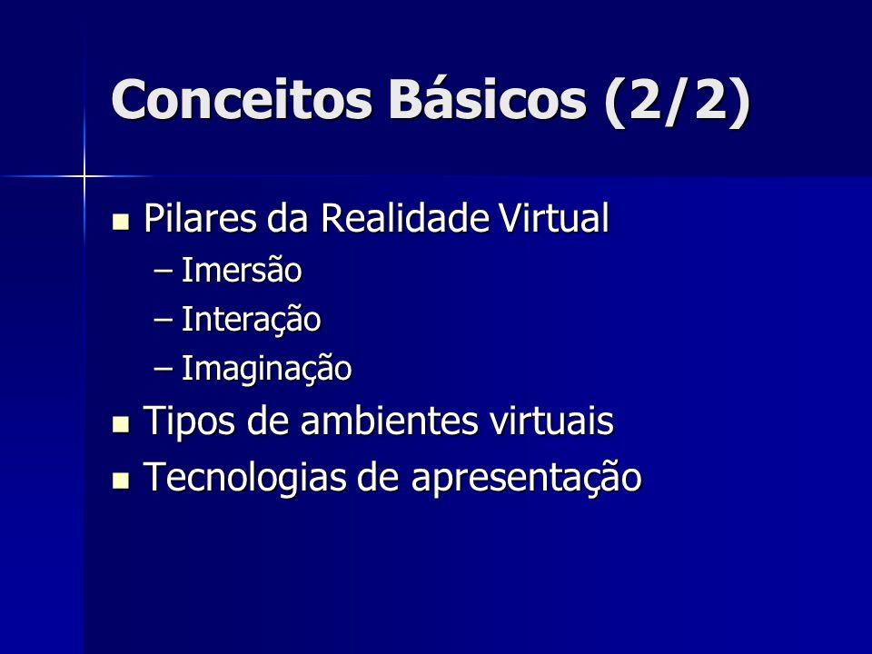 Conceitos Básicos (2/2) Pilares da Realidade Virtual Pilares da Realidade Virtual –Imersão –Interação –Imaginação Tipos de ambientes virtuais Tipos de