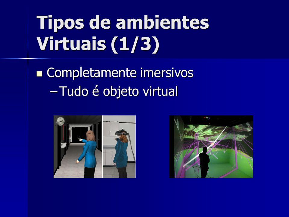 Tipos de Ambientes Virtuais (2/3) Realidade Aumentada (Augmented Reality) Realidade Aumentada (Augmented Reality) –Imersão no mundo real com adição de elementos virtuais