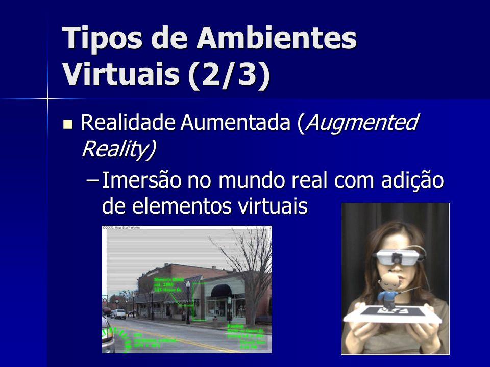 Tipos de Ambientes Virtuais (2/3) Realidade Aumentada (Augmented Reality) Realidade Aumentada (Augmented Reality) –Imersão no mundo real com adição de