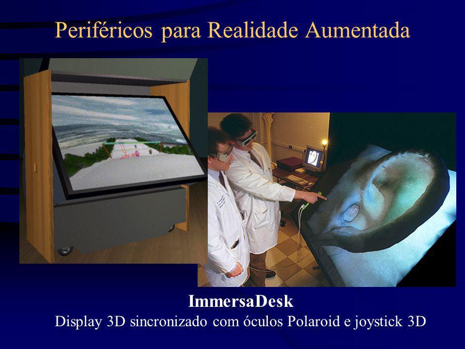 Periféricos para Realidade Aumentada ImmersaDesk Display 3D sincronizado com óculos Polaroid e joystick 3D