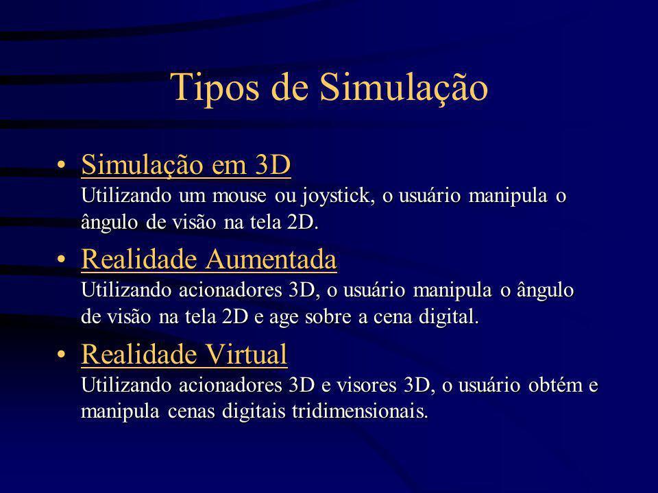 Tipos de Simulação Simulação em 3D Utilizando um mouse ou joystick, o usuário manipula o ângulo de visão na tela 2D.Simulação em 3D Utilizando um mous