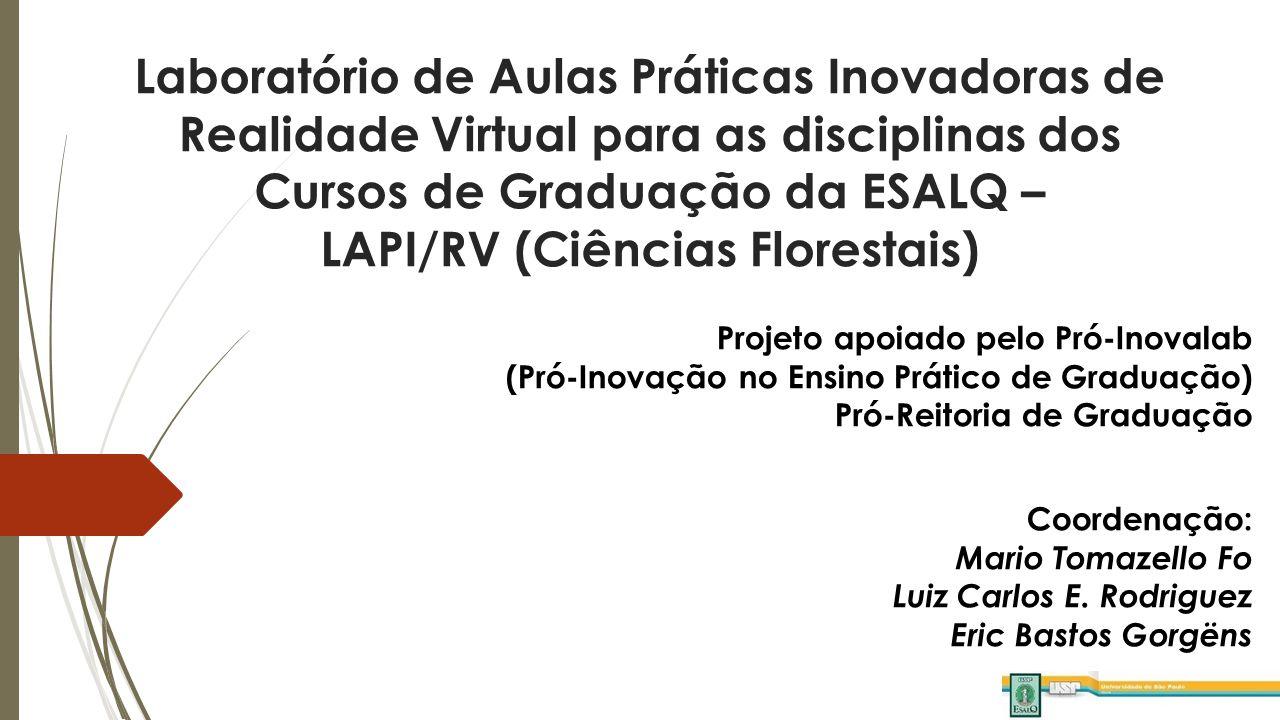 Laboratório de Aulas Práticas Inovadoras de Realidade Virtual para as disciplinas dos Cursos de Graduação da ESALQ – LAPI/RV (Ciências Florestais) Projeto apoiado pelo Pró-Inovalab (Pró-Inovação no Ensino Prático de Graduação) Pró-Reitoria de Graduação Coordenação: Mario Tomazello Fo Luiz Carlos E.
