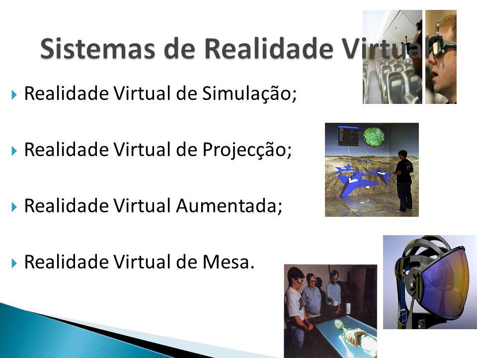  Realidade Virtual de Simulação;  Realidade Virtual de Projecção;  Realidade Virtual Aumentada;  Realidade Virtual de Mesa.