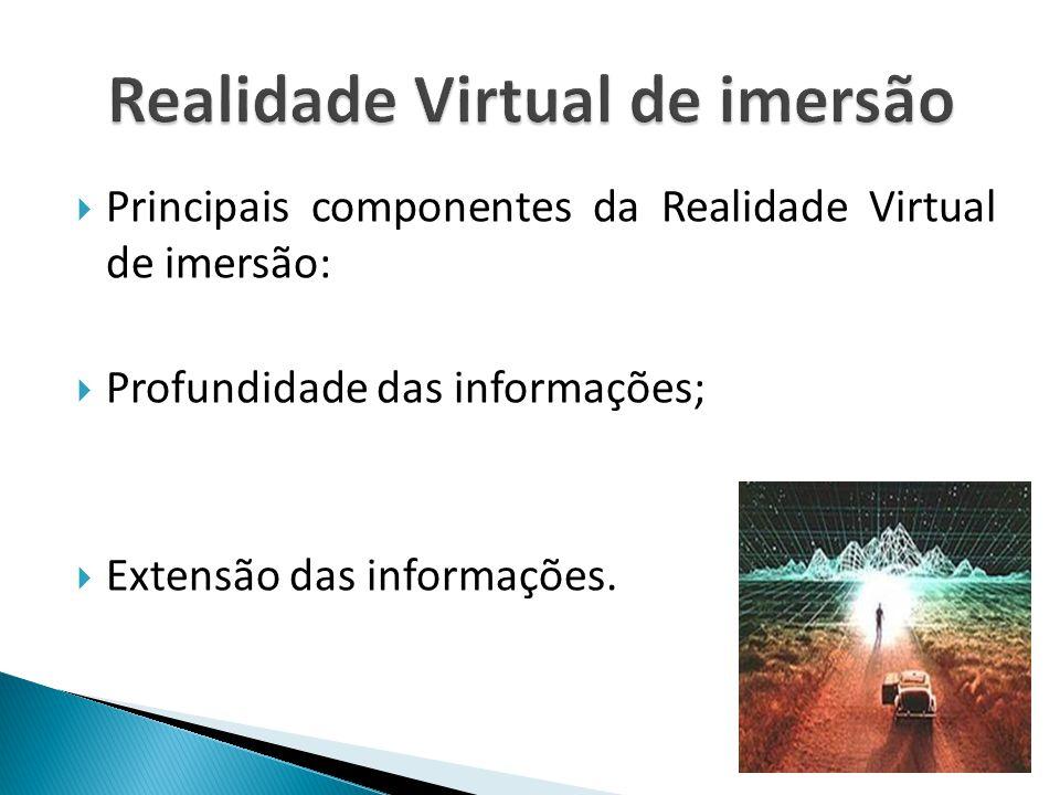  Principais componentes da Realidade Virtual de imersão:  Profundidade das informações;  Extensão das informações.