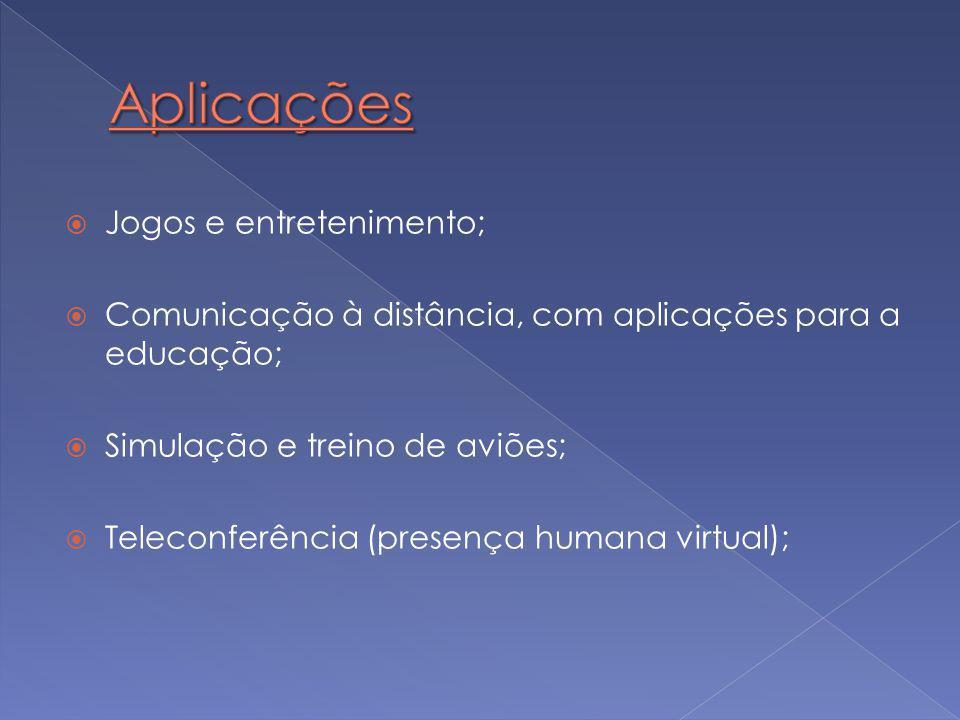  Jogos e entretenimento;  Comunicação à distância, com aplicações para a educação;  Simulação e treino de aviões;  Teleconferência (presença humana virtual);
